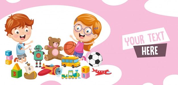 Vector Illustration Of Children Playing Of Toys Vector Premium