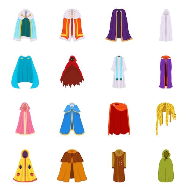 Векторная иллюстрация плащ и знак одежды. коллекция плаща и набора одежды Premium векторы