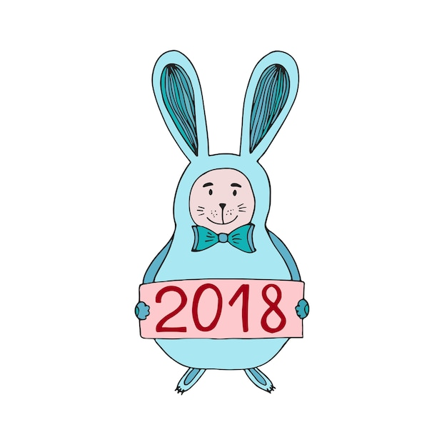 vector illustration of cute christmas bunny with 2018 number new year card premium vector