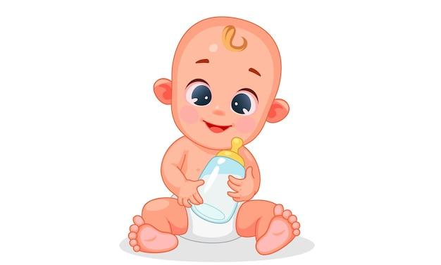 Векторная иллюстрация милый счастливый ребенок, держащий детское молоко Premium векторы