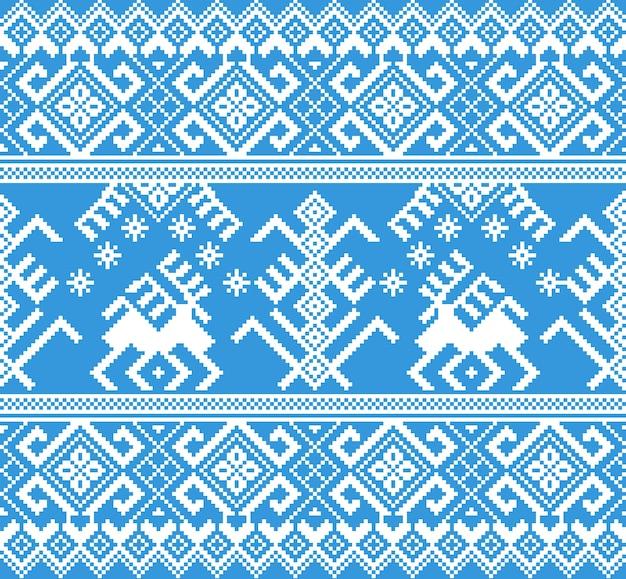 民俗のシームレスなパターン飾りのベクトルイラスト。松の木と鹿の民族正月青い飾り。クールなエスニックボーダー要素 無料ベクター
