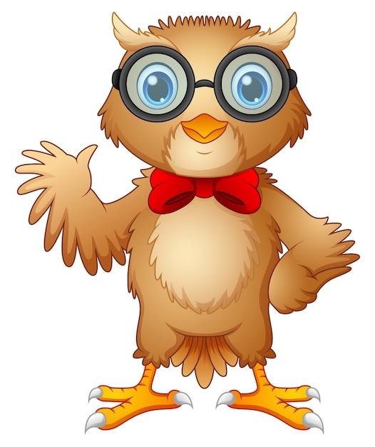 ヒップスターフクロウの眼鏡と蝶ネクタイのベクトル図 Premiumベクター