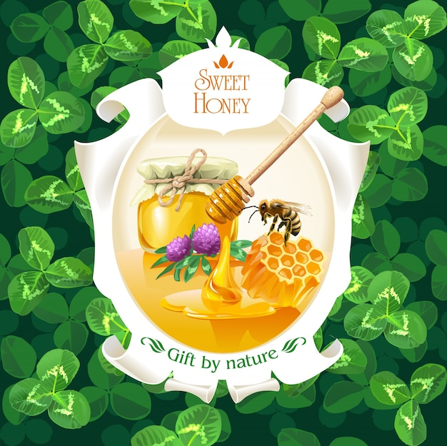 Vector illustration of honey in frame on\ background clover