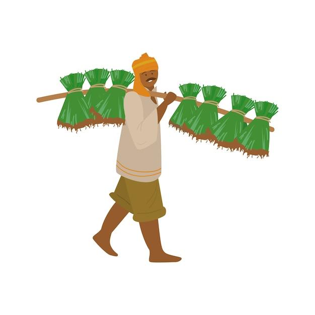 심기 위해 쌀 식물을 들고 터번에서 인도 농부의 벡터 일러스트 레이 션 프리미엄 벡터