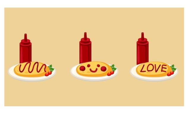 日本食、日本米、トマトソースのオムレツのベクトルイラスト。 Premiumベクター