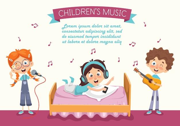 Векторная иллюстрация kid прослушивания музыки Premium векторы