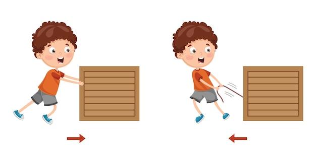 Векторная иллюстрация kid pushing и pulling Premium векторы