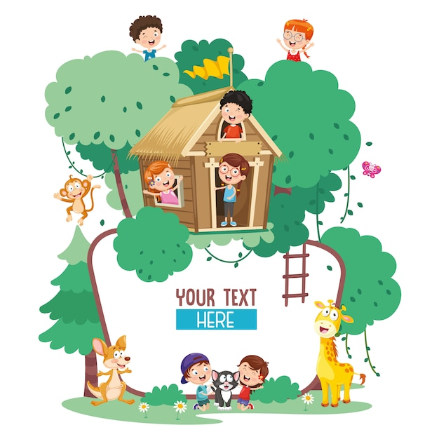 子供と動物のベクトル図 Premiumベクター