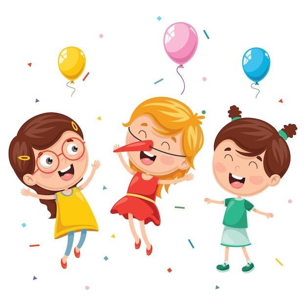 子供たちの誕生日パーティーのベクトル図 Premiumベクター