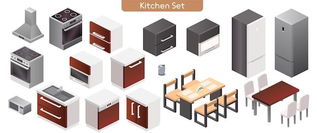 Векторная иллюстрация кухонной современной внутренней мебели. изометрический вид на плиту, кухонную вытяжку, шкафы, раковину, микроволновую печь, электрочайник, обеденные столы, стулья, отдельные объекты холодильника Premium векторы