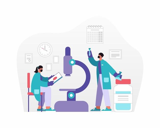 Векторная иллюстрация мужчины и женщины в масках, анализирующих данные и образцы возле микроскопа при создании лекарства в современной лаборатории Premium векторы