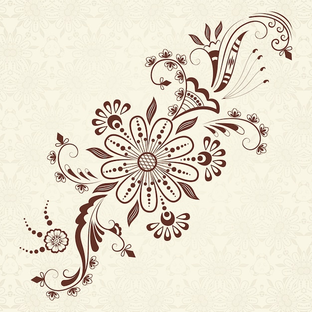 Vector illustration of mehndi ornament traditional indian style ornamental floral elements for henna tattoo