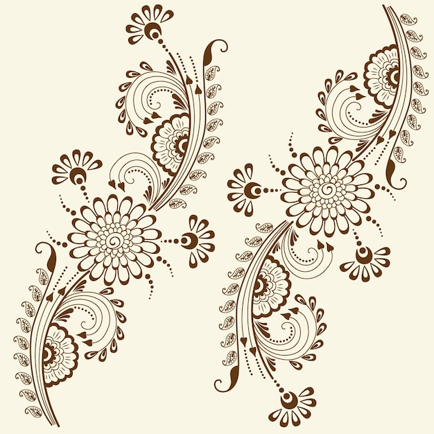 Vector illustration of mehndi ornament. Traditional indian ...