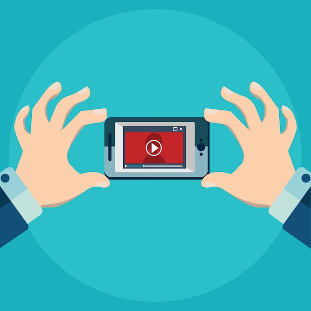 Vector illustration of mobile app for video flat style ...