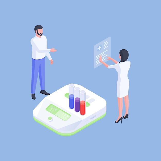 Векторная иллюстрация современных ученых-медиков, исследующих пробирки и результаты новых лекарств, работая с современным оборудованием в лаборатории Premium векторы