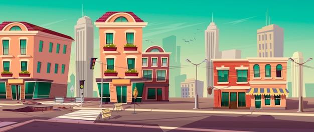 道路のベクトルイラストは街の通りに動作します 無料ベクター