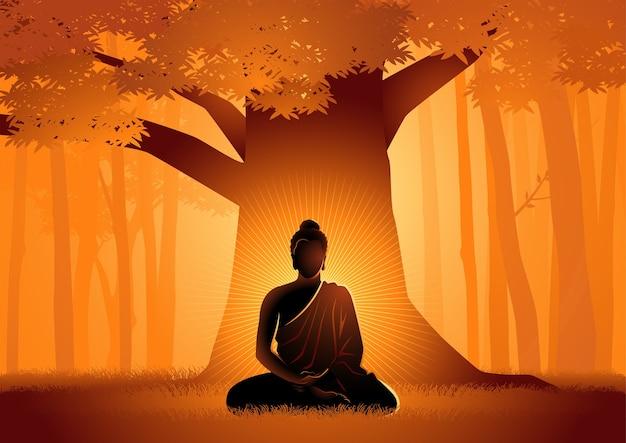 Векторная иллюстрация сиддхартхи гаутамы, просветленного под деревом бодхи, просветление будды под деревом бодхи Premium векторы