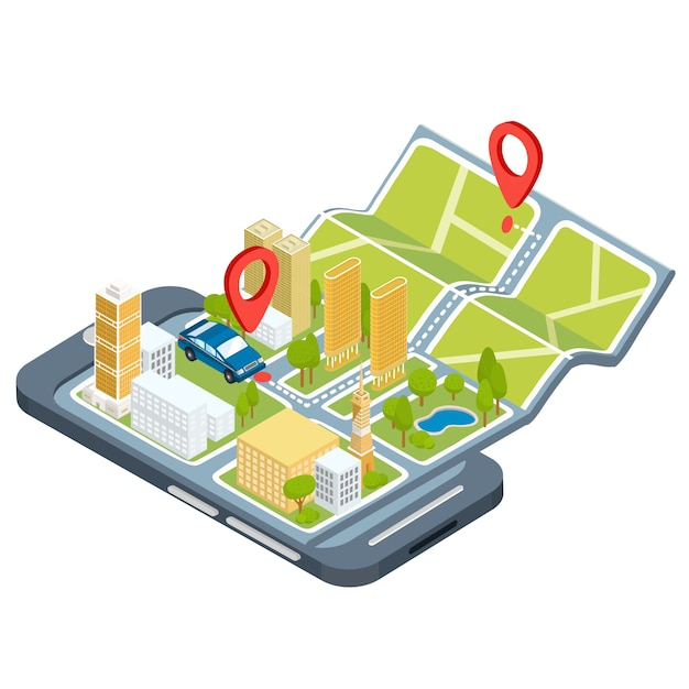 Vector illustration of the concept of using the mobile application of the global positioning system. Free Vector