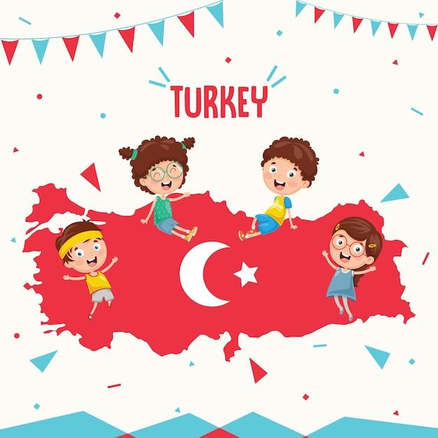 Векторная иллюстрация турецкого флага и детей Premium векторы