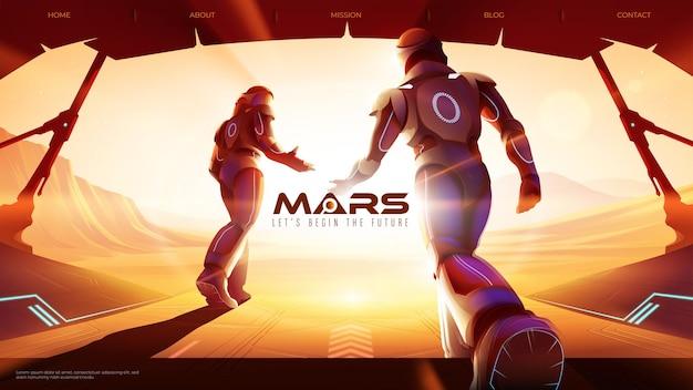 2人の宇宙飛行士のベクトルイラストが火星の宇宙船から外に歩いています Premiumベクター
