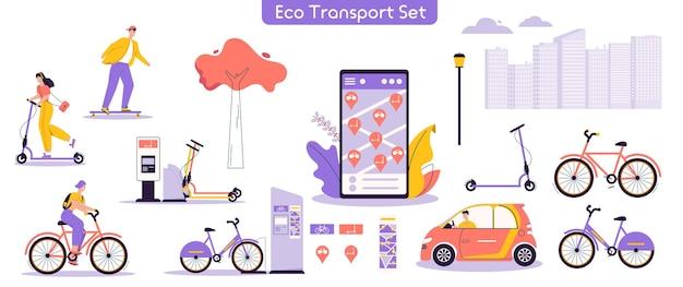 都市のエコ輸送セットのベクトルイラスト。キャラクターの男性、電動キックスクーターに乗る女性、自転車、スケートボード、車の運転、レンタルサービスモバイルアプリを使用したバンドル。現代の都会のライフスタイル Premiumベクター