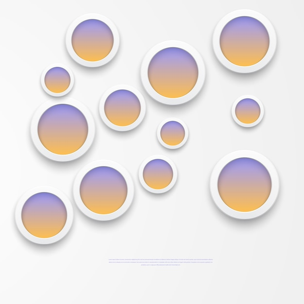 Vector illustration of white paper round notes.