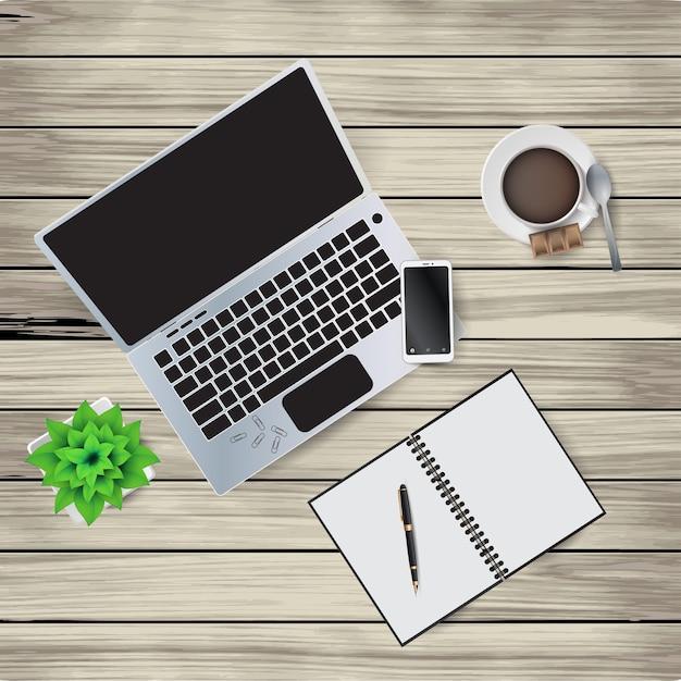 Векторная иллюстрация элементов рабочего места на деревянном столе. блокнот, ручка, кофейная чашка, ложка, скрепки, цветок в горшке, блокнот Premium векторы