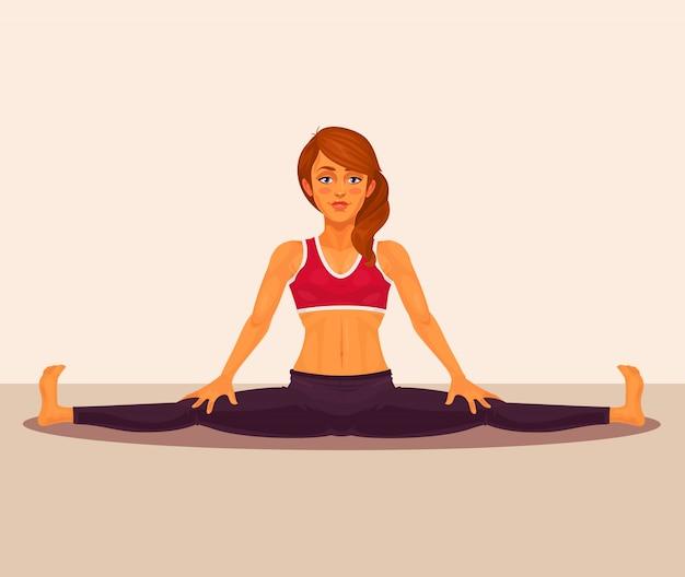 Векторная иллюстрация девушка йоги делает раскол. Бесплатные векторы