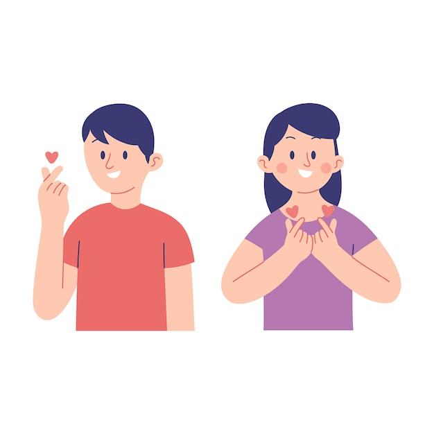 Векторная иллюстрация молодых мужчин и женщин, показывая выражение корейских сердец Premium векторы