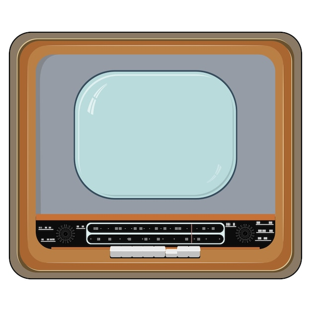 Vector illustration of an old tv set with wooden case Premium Vector