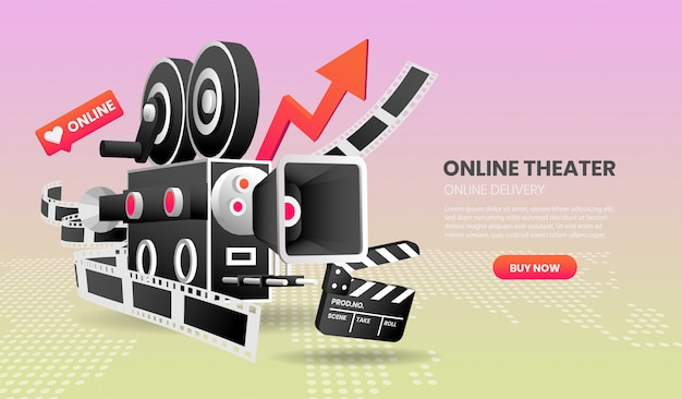 Vector illustration of online cinema service concept suitable for landing page banner application and home page. Premium Vector
