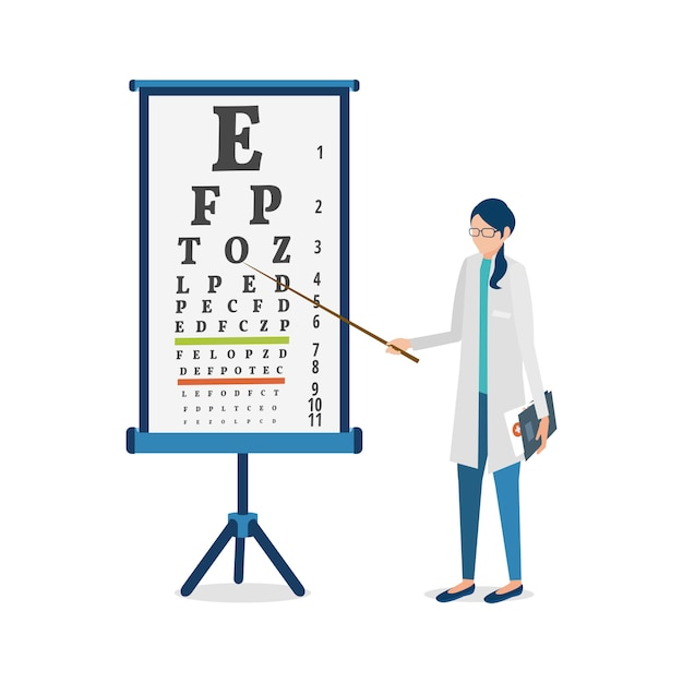 Vector  illustration. ophthalmologist and visual acuity chart Premium Vector