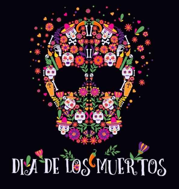 Vector illustration of an ornately decorated day of the dead dia de los muertos skull. Premium Vector