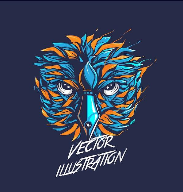 Vector illustration of owl head, colorful Premium Vector