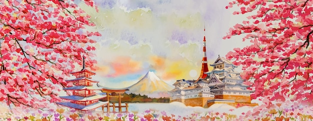 Vector illustration paintings watercolor travel landmarks famous of japan in asia. fuji mountain, beautiful architecture with spring season background, popular tour attraction business city. Premium Vector