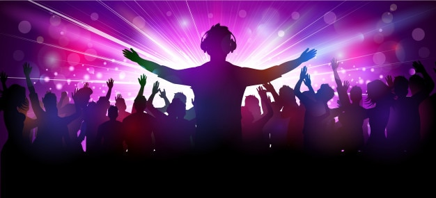 Vector illustration of party people in club Premium Vector