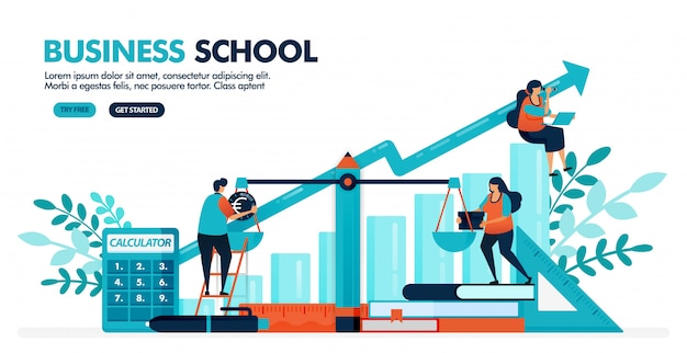 Vector illustration of people are calculating balance sheet on the scale. bar chart diagram. business, accounting and economic school. Premium Vector