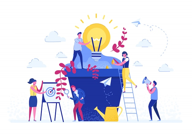 Vector illustration. people grow potted plants, a metaphor for the birth of a creative idea. business concept analysis. graphic design idea of project activity Premium Vector
