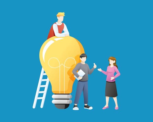 ベクトルイラスト大きな電球のアイデアを持つ人々 Premiumベクター