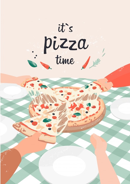Vector illustration of pizza with text it`s pizza time Premium Vector