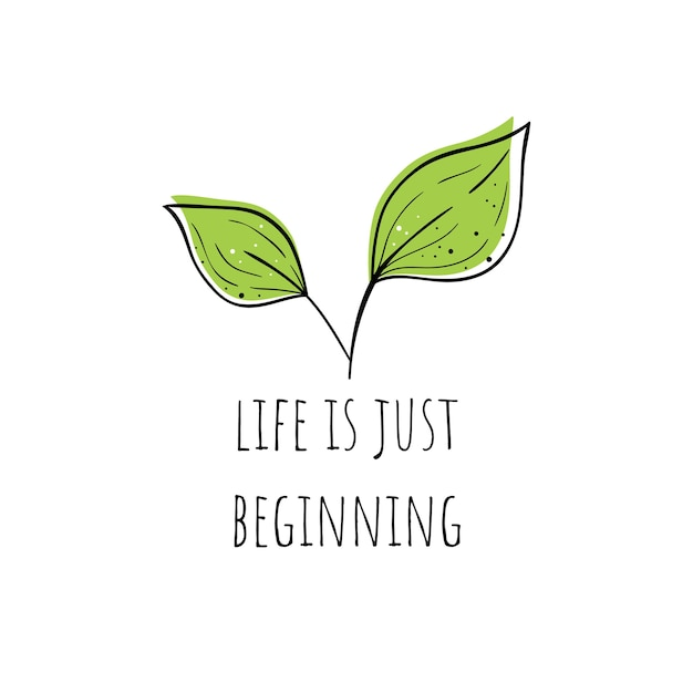 Vector illustration of a plant. life is just beginning.scandinavian motives. Premium Vector