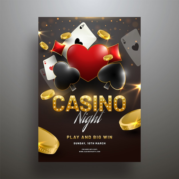 Vector illustration of playing cards with gold coins on shiny gr Premium Vector