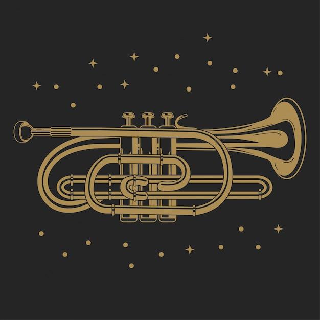 Vector illustration of a pocket trumpet Premium Vector