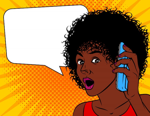 Vector illustration of pop art comic style. african american woman shocked. the woman opened her mouth in amazement. Premium Vector