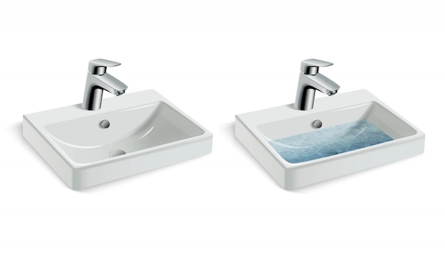 Vector illustration of porcelain white washing sink and water tap, with and without water. Premium Vector