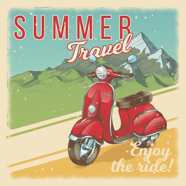 Vector illustration, poster with red vintage scooter, moped in grunge style. Free Vector