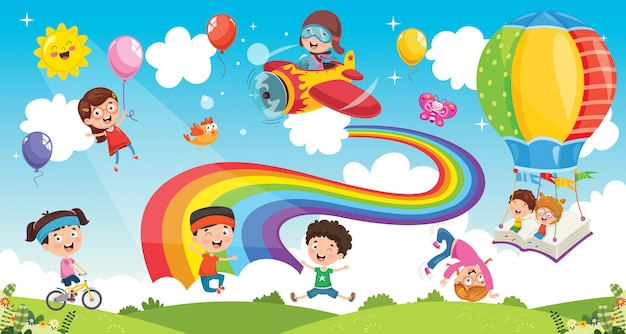 Vector illustration of rainbow children Premium Vector
