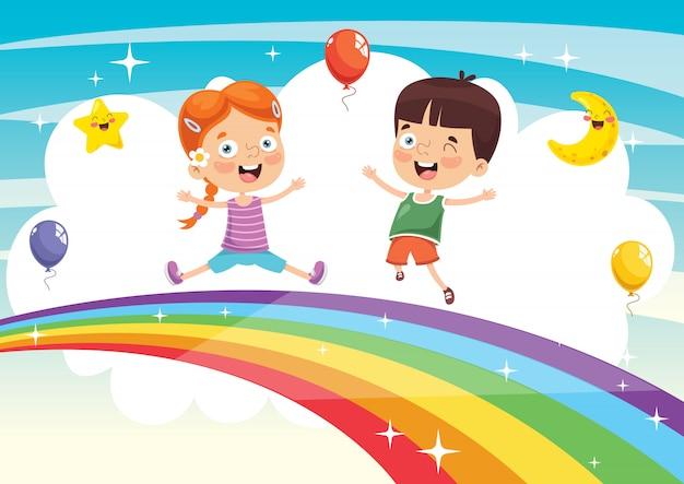 Vector illustration of rainbow children Premium Vector