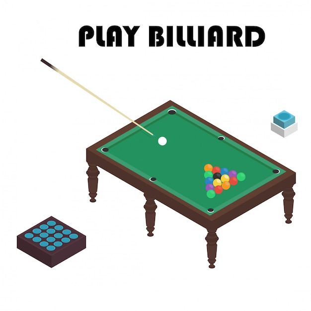 Vector illustration realistic snooker pool table with set of billiard balls and cue. Premium Vector