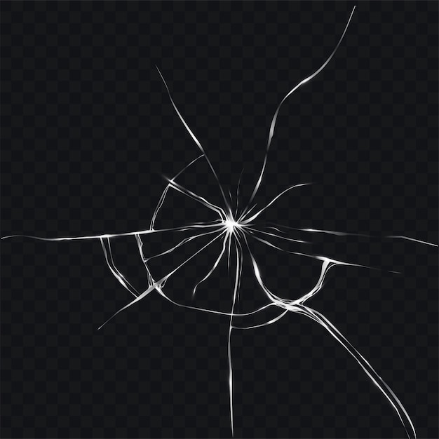Vector illustration in realistic style of broken, cracked glass Free Vector
